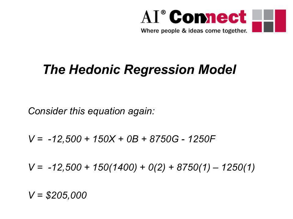 Consider this equation again: V = -12,500 + 150X + 0B + 8750G - 1250F V = -12,500 + 150(1400) + 0(2) + 8750(1) – 1250(1) V = $205,000 The Hedonic Regr