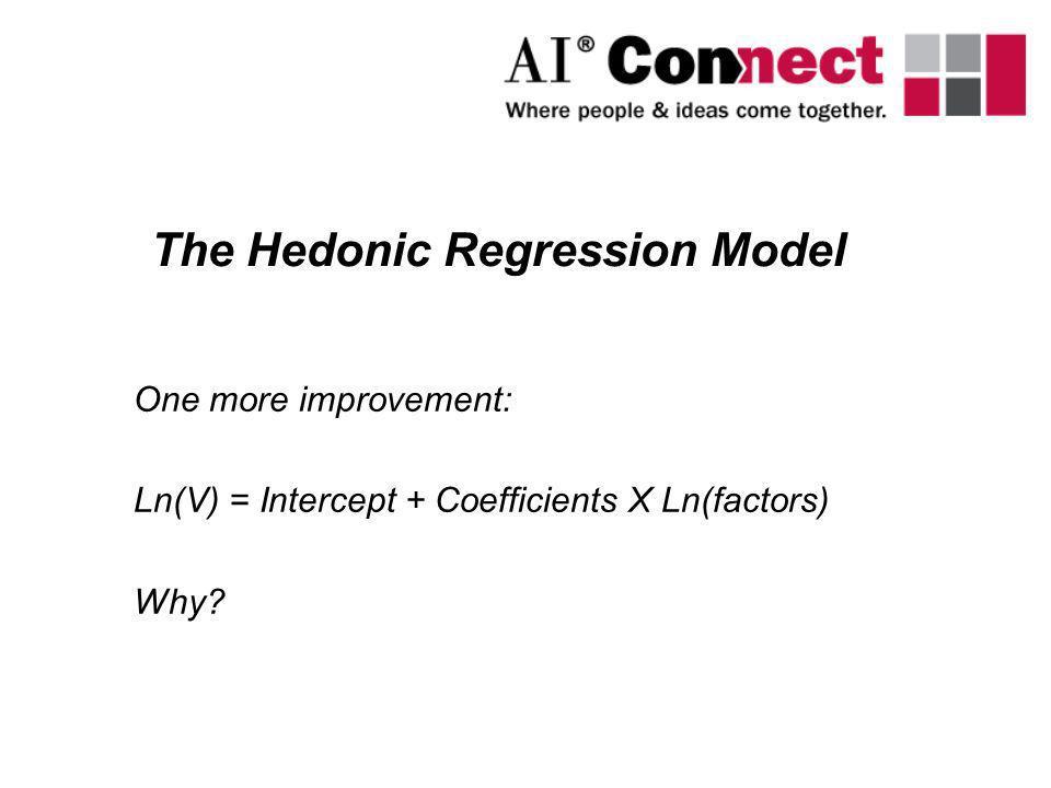 One more improvement: Ln(V) = Intercept + Coefficients X Ln(factors) Why? The Hedonic Regression Model