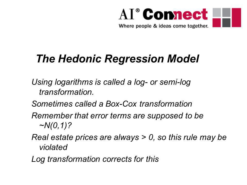 Using logarithms is called a log- or semi-log transformation. Sometimes called a Box-Cox transformation Remember that error terms are supposed to be ~