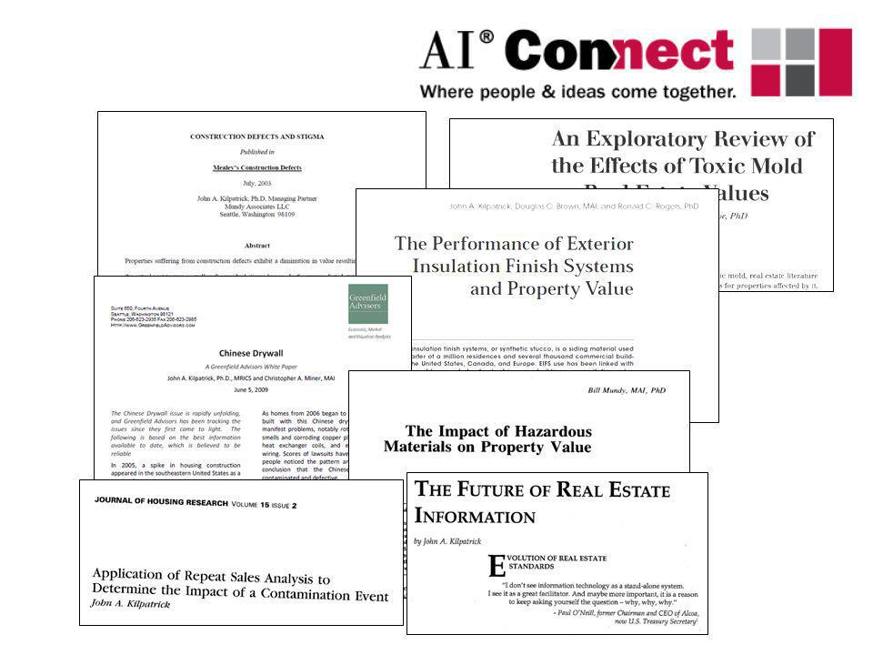 In reality, meta analyses look at dozens of studies, and control for such factors as type of contaminant (groundwater, air, etc.), geographic region, neighborhood type (rural, suburban, etc.), time factors, and underlying unimpaired property value.