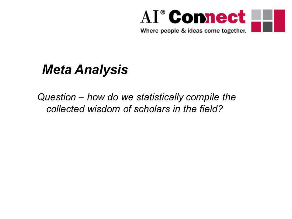 Question – how do we statistically compile the collected wisdom of scholars in the field? Meta Analysis