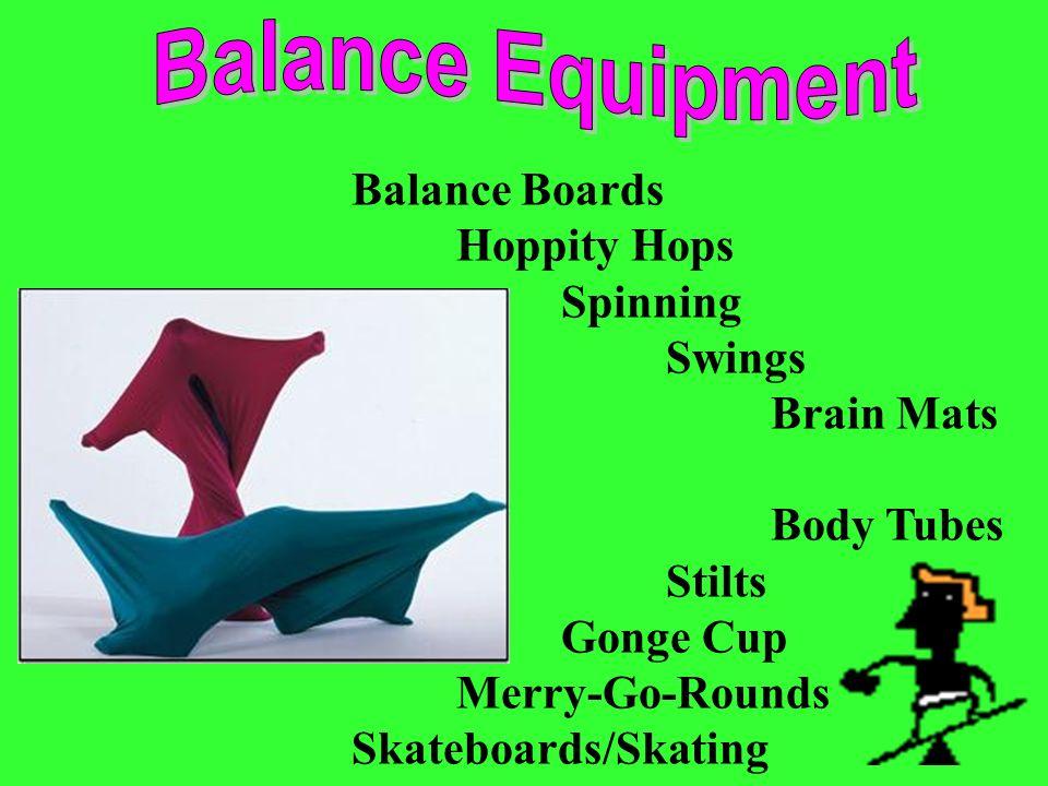 Balance Boards Hoppity Hops Spinning Swings Brain Mats Body Tubes Stilts Gonge Cup Merry-Go-Rounds Skateboards/Skating