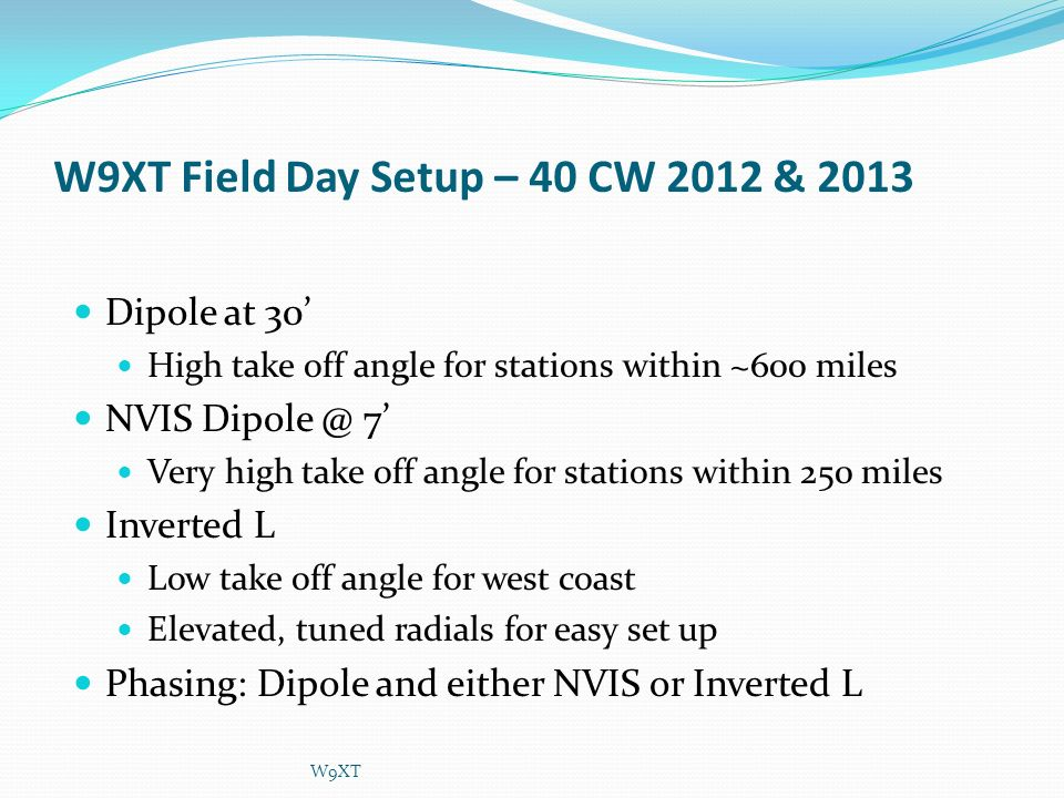 W9XT Field Day Setup – 40 CW 2012 & 2013 Dipole at 30 High take off angle for stations within ~600 miles NVIS Dipole @ 7 Very high take off angle for