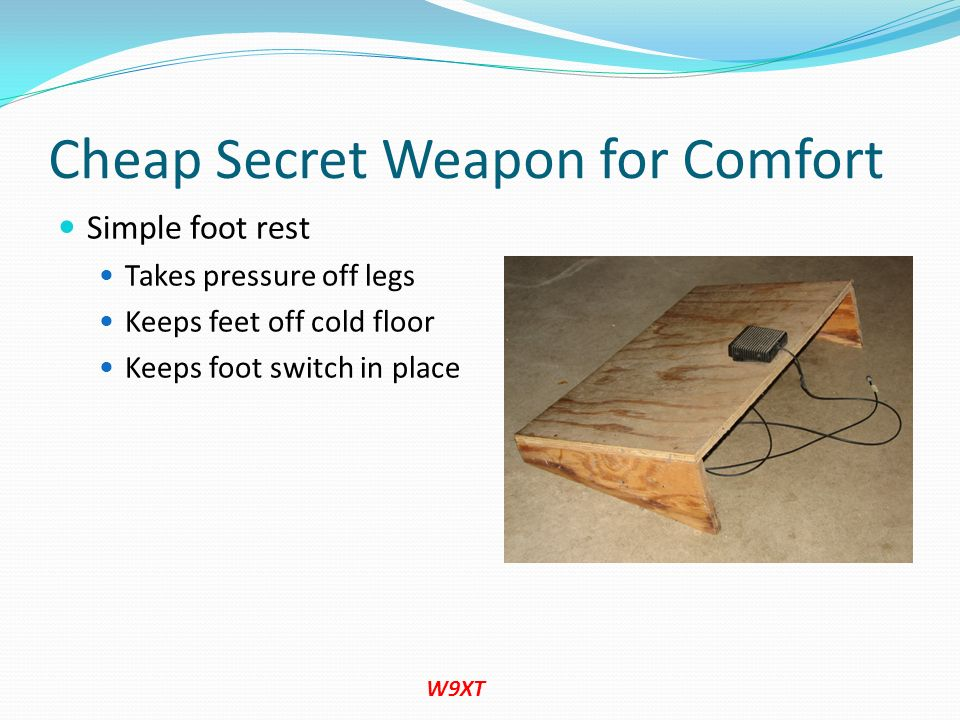 Cheap Secret Weapon for Comfort Simple foot rest Takes pressure off legs Keeps feet off cold floor Keeps foot switch in place W9XT