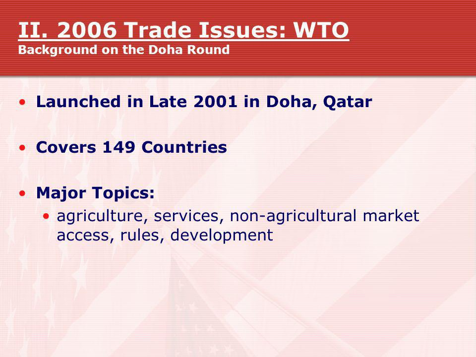 II. 2006 Trade Issues: WTO Background on the Doha Round Launched in Late 2001 in Doha, Qatar Covers 149 Countries Major Topics: agriculture, services,
