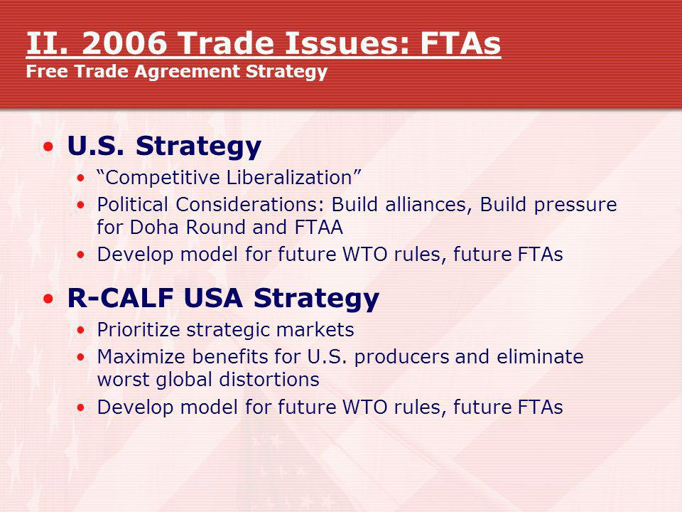 II. 2006 Trade Issues: FTAs Free Trade Agreement Strategy U.S. Strategy Competitive Liberalization Political Considerations: Build alliances, Build pr