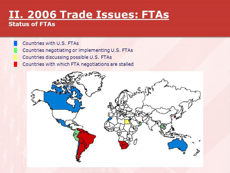 II. 2006 Trade Issues: FTAs Status of FTAs Countries with U.S. FTAs Countries negotiating or implementing U.S. FTAs Countries discussing possible U.S.