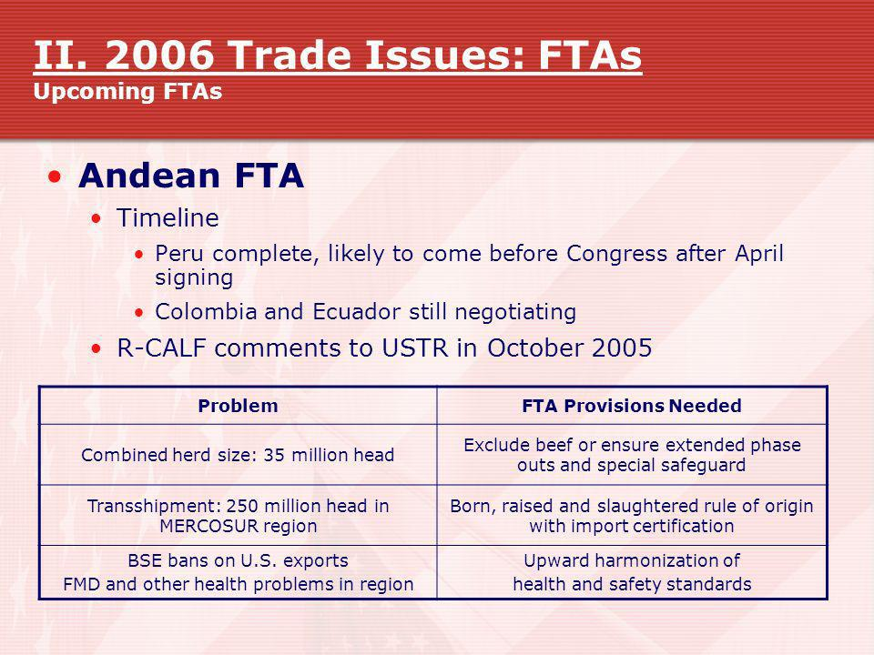 II. 2006 Trade Issues: FTAs Upcoming FTAs Andean FTA Timeline Peru complete, likely to come before Congress after April signing Colombia and Ecuador s