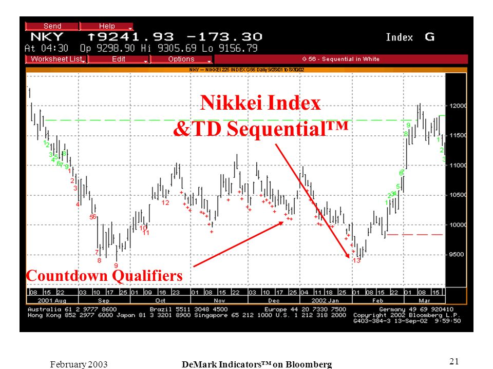 February 2003DeMark Indicators on Bloomberg 21 Nikkei Index &TD Sequential Countdown Qualifiers