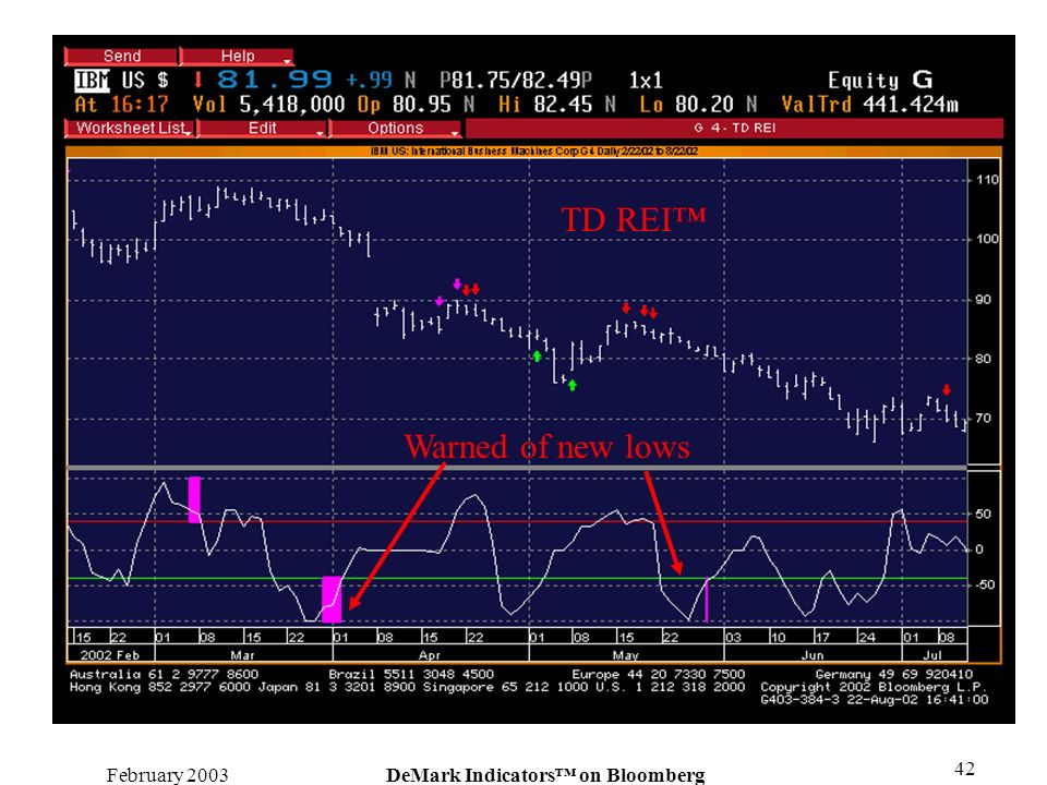 February 2003DeMark Indicators on Bloomberg 42 Warned of new lows TD REI