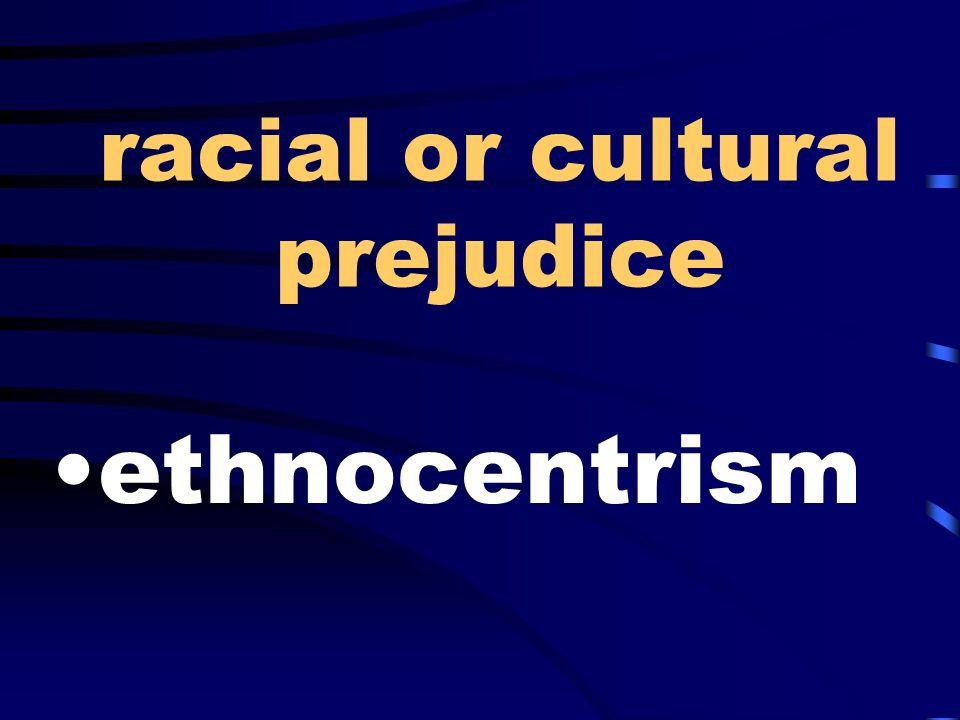 racial or cultural prejudice ethnocentrism