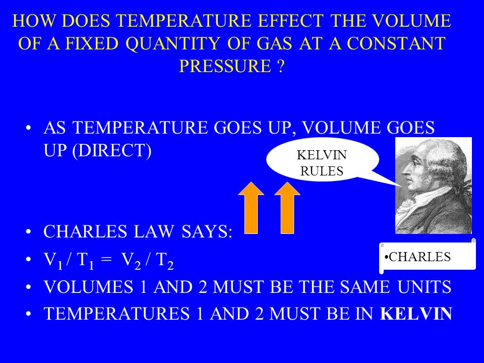 HOW DOES TEMPERATURE EFFECT THE VOLUME OF A FIXED QUANTITY OF GAS AT A CONSTANT PRESSURE .
