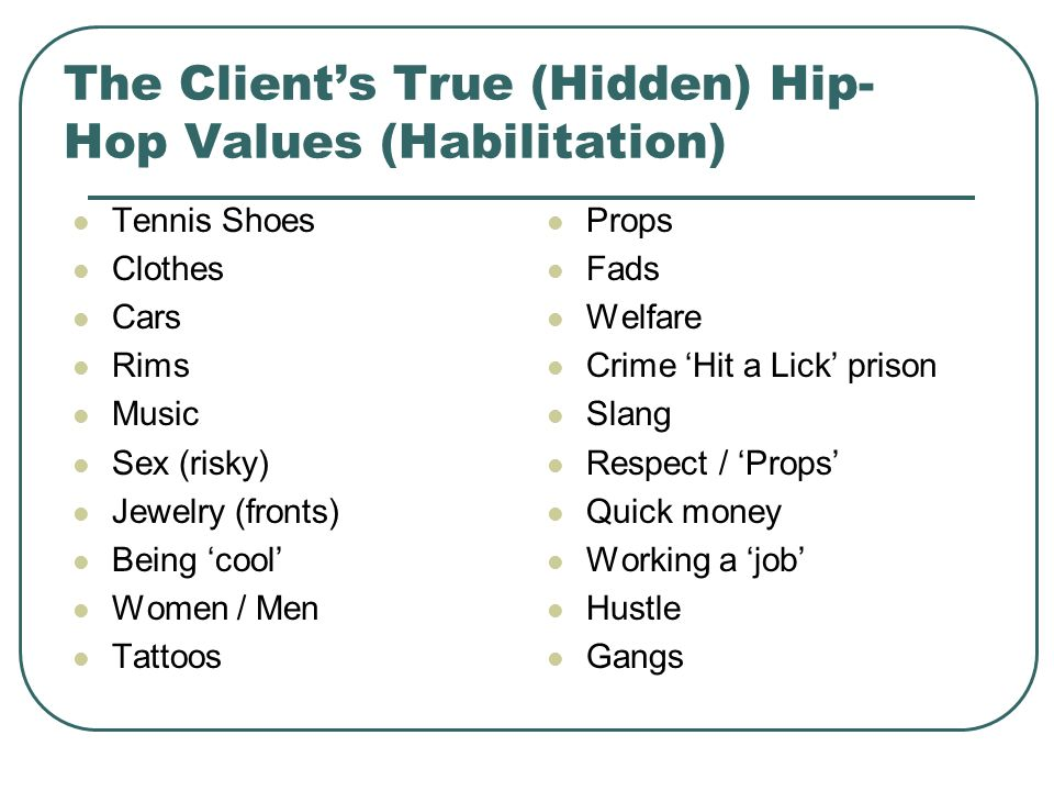The Clients True (Hidden) Hip- Hop Values (Habilitation) Tennis Shoes Clothes Cars Rims Music Sex (risky) Jewelry (fronts) Being cool Women / Men Tatt