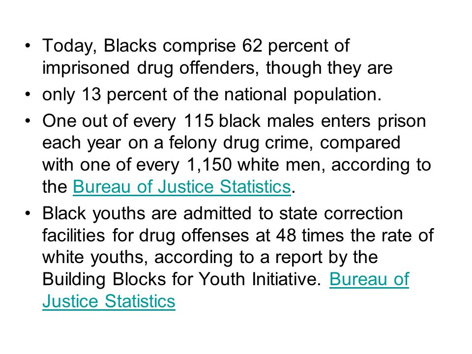 Today, Blacks comprise 62 percent of imprisoned drug offenders, though they are only 13 percent of the national population. One out of every 115 black