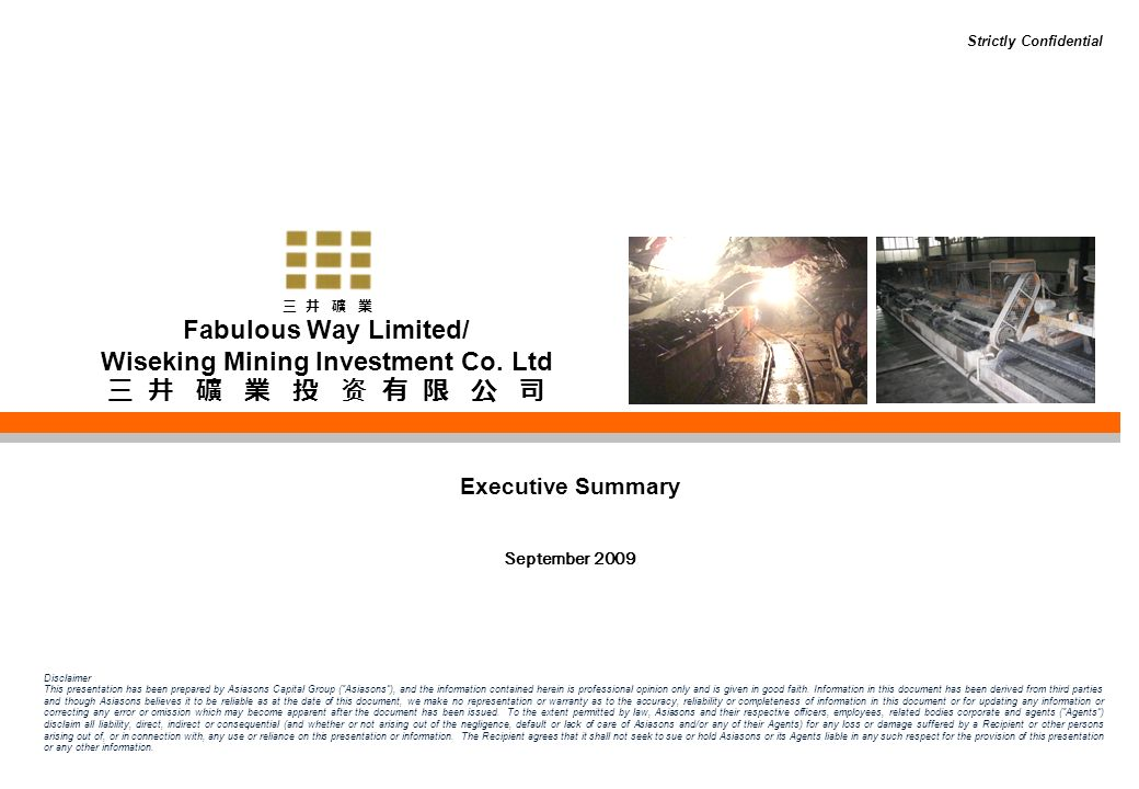 Table of Contents 2 1.Introduction 2.Overview of Mining Assets 3.Production 4.Financial Information 5.Key Management Profile 6.Recent Developments