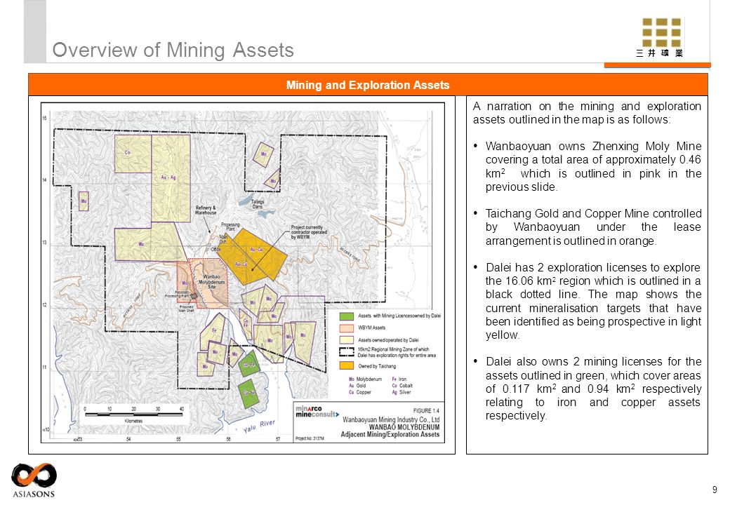 Overview of Mining Assets 9 Mining and Exploration Assets A narration on the mining and exploration assets outlined in the map is as follows: Wanbaoyu