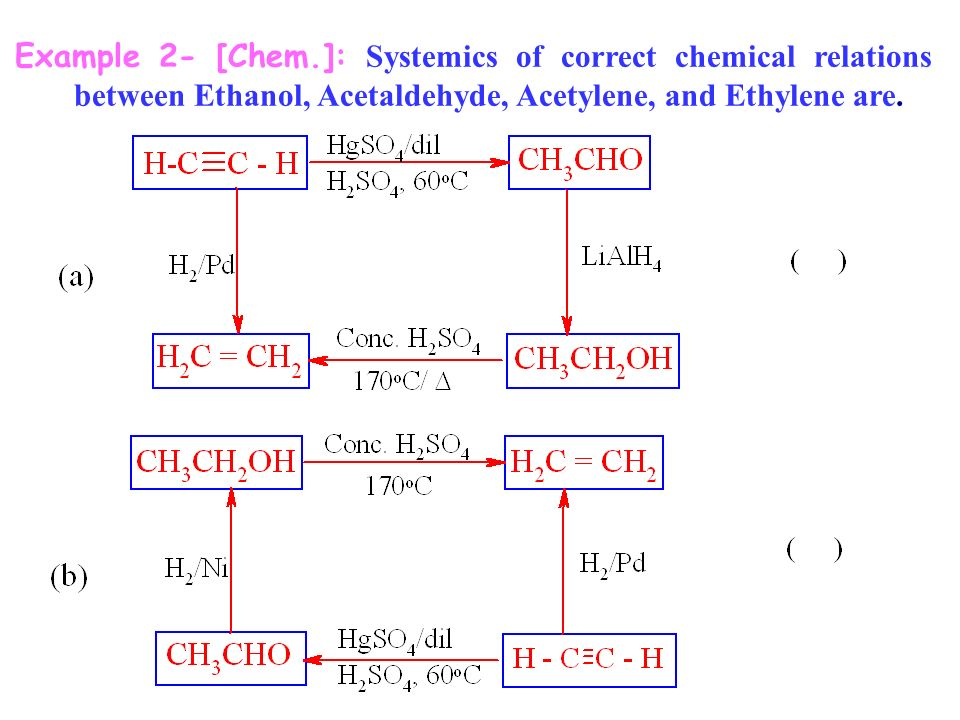Example 2- [Chem.]: Systemics of correct chemical relations between Ethanol, Acetaldehyde, Acetylene, and Ethylene are.