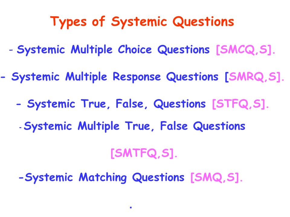 Types of Systemic Questions - Systemic Multiple Choice Questions [SMCQ,S].