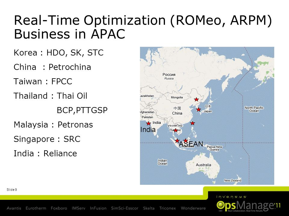 Slide 9 Real-Time Optimization (ROMeo, ARPM) Business in APAC Korea : HDO, SK, STC China : Petrochina Taiwan : FPCC Thailand : Thai Oil BCP,PTTGSP Mal