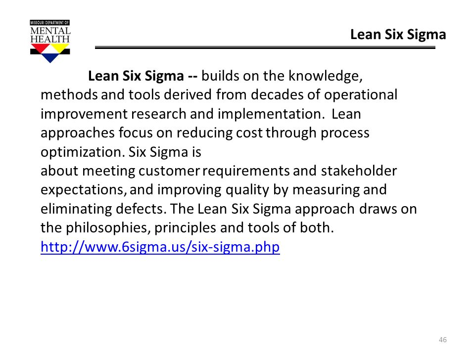 46 Lean Six Sigma Lean Six Sigma -- builds on the knowledge, methods and tools derived from decades of operational improvement research and implementa