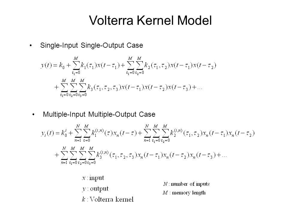 Volterra Kernel Model Single-Input Single-Output Case Multiple-Input Multiple-Output Case