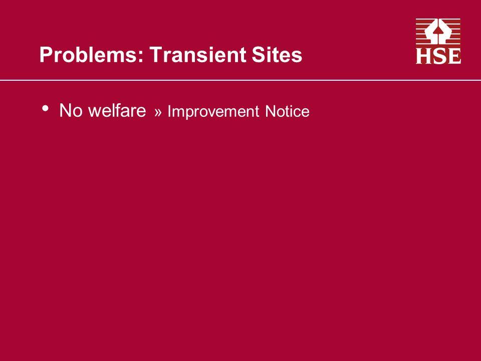 Problems: Transient Sites No welfare » Improvement Notice