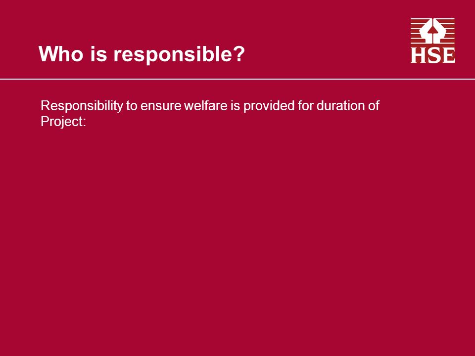 Who is responsible Responsibility to ensure welfare is provided for duration of Project: