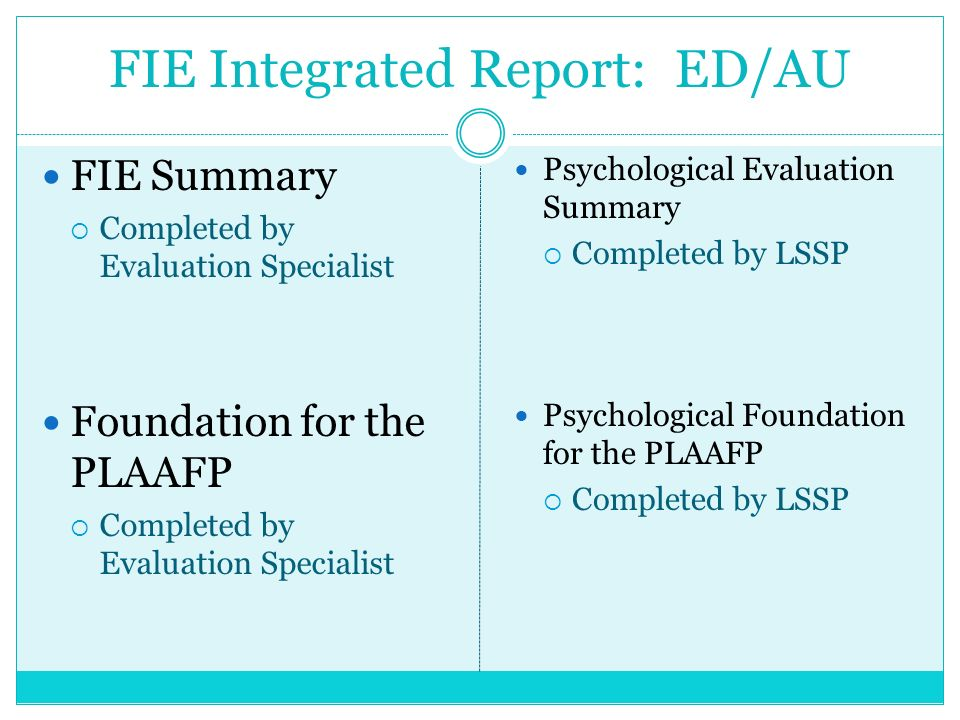 FIE Integrated Report: ED/AU FIE Summary Completed by Evaluation Specialist Foundation for the PLAAFP Completed by Evaluation Specialist Psychological