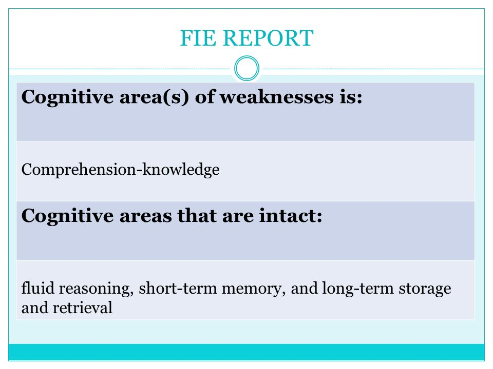 FIE REPORT Cognitive area(s) of weaknesses is: Comprehension-knowledge Cognitive areas that are intact: fluid reasoning, short-term memory, and long-t