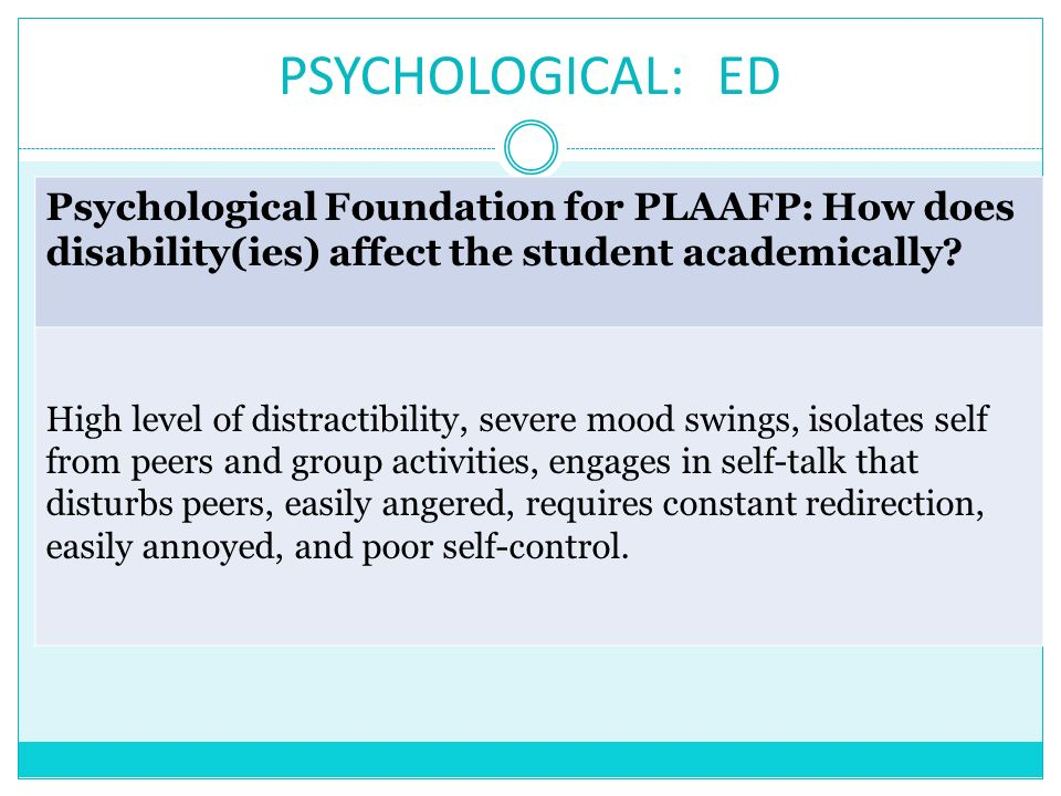 PSYCHOLOGICAL: ED Psychological Foundation for PLAAFP: How does disability(ies) affect the student academically? High level of distractibility, severe