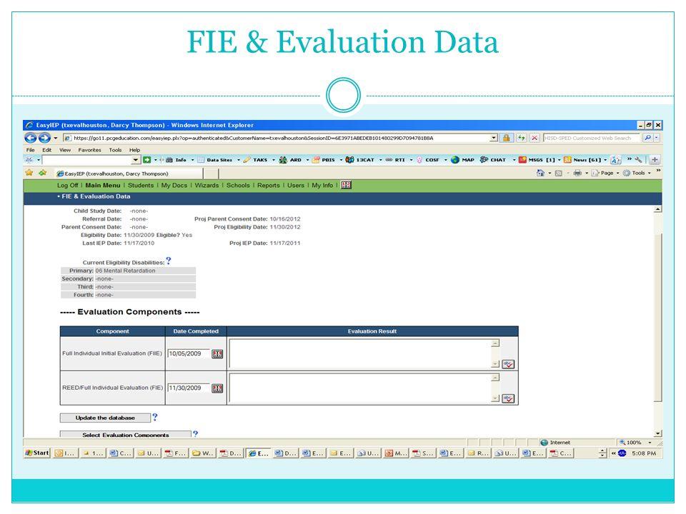 FIE & Evaluation Data