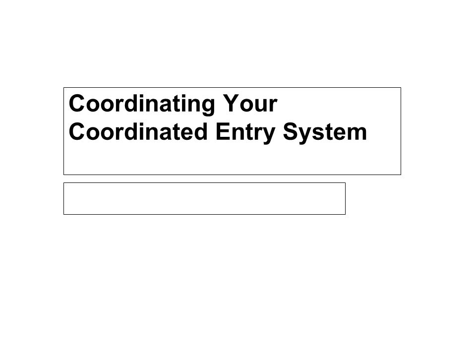 Coordinating Your Coordinated Entry System