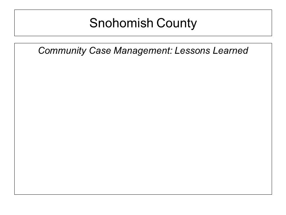 Snohomish County Community Case Management: Lessons Learned
