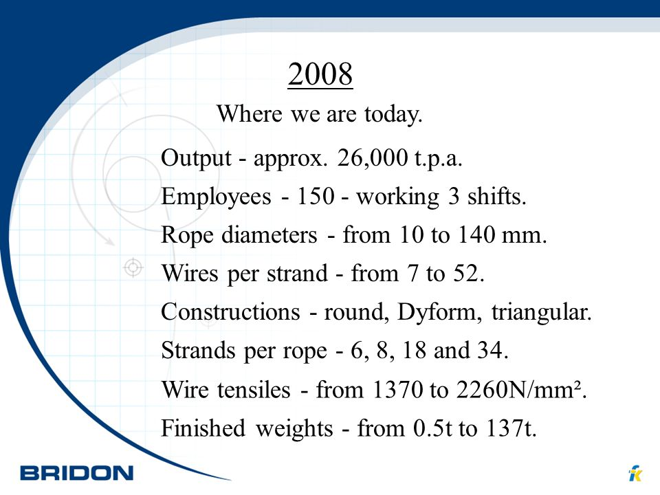 2008 Where we are today. Output - approx. 26,000 t.p.a. Employees - 150 - working 3 shifts. Finished weights - from 0.5t to 137t. Wire tensiles - from