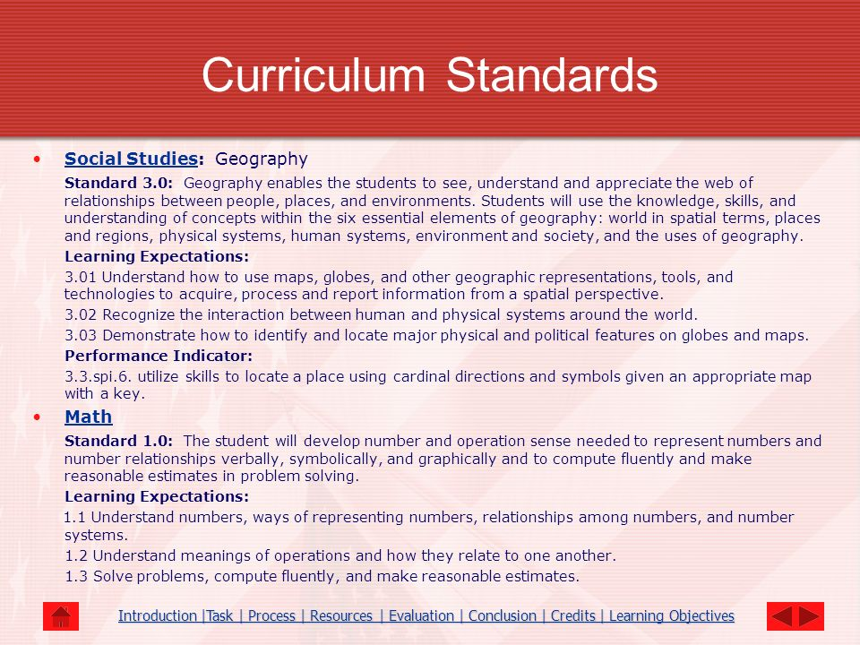 Curriculum Standards Social Studies: GeographySocial Studies Standard 3.0: Geography enables the students to see, understand and appreciate the web of