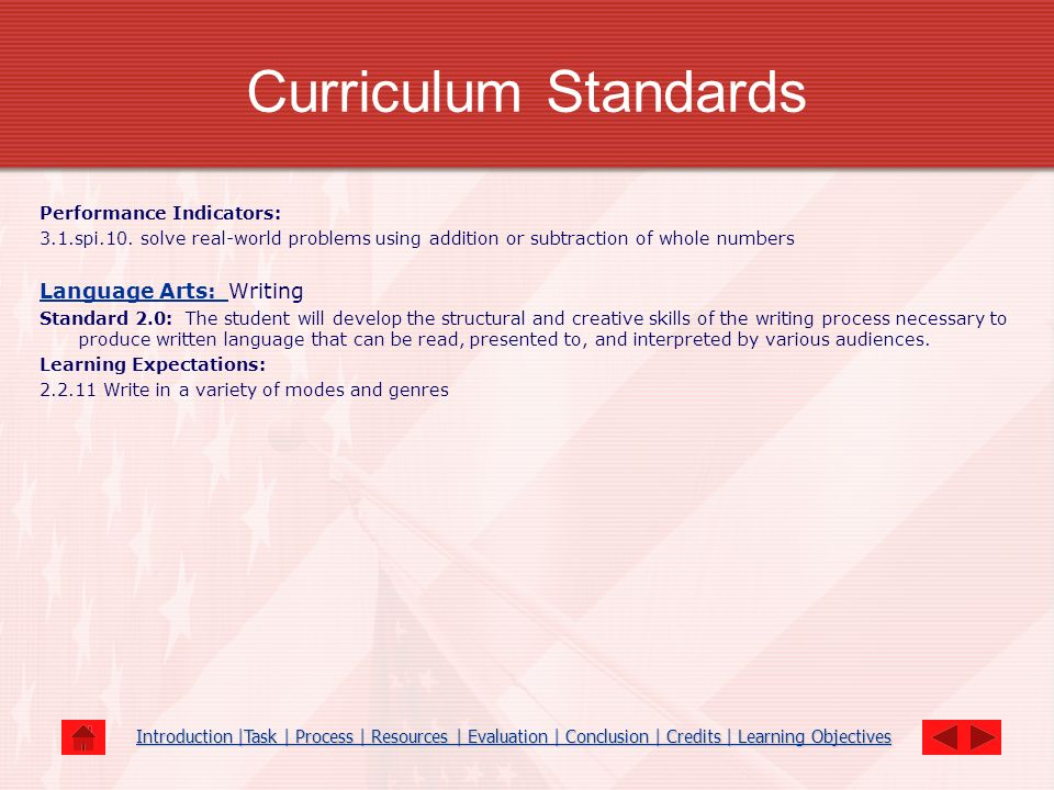 Curriculum Standards Performance Indicators: 3.1.spi.10. solve real-world problems using addition or subtraction of whole numbers Language Arts: Langu