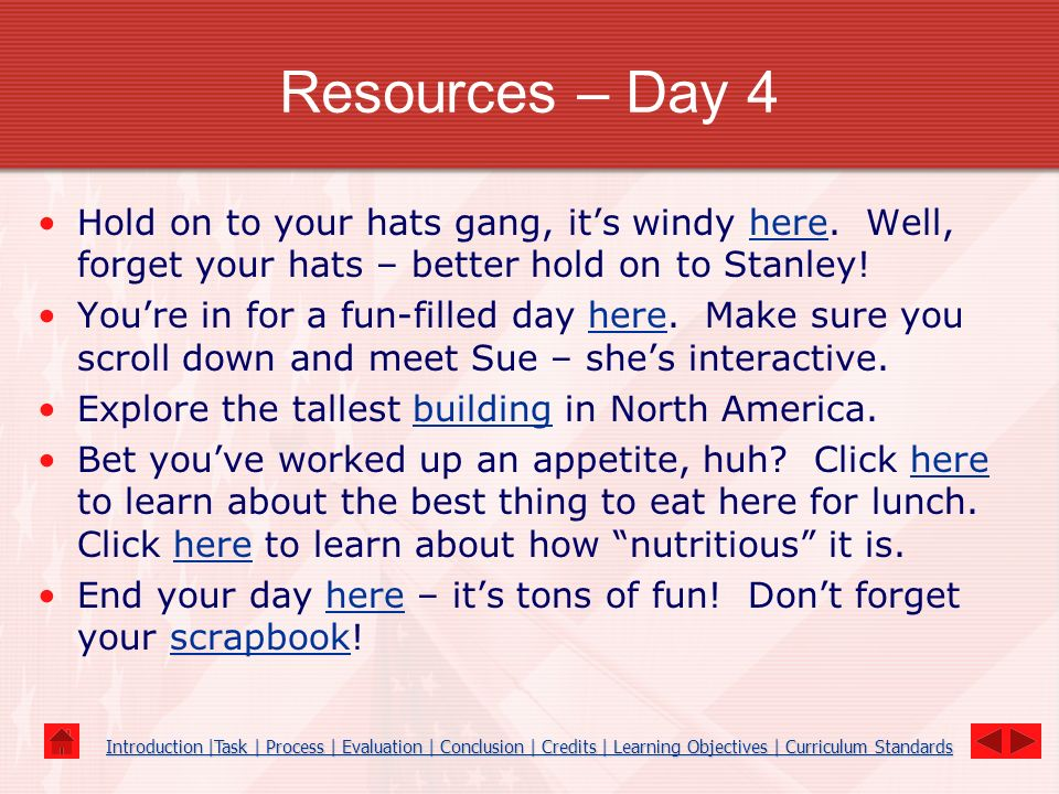 Resources – Day 4 Hold on to your hats gang, its windy here. Well, forget your hats – better hold on to Stanley!here Youre in for a fun-filled day her