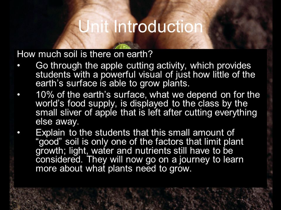Unit Introduction How much soil is there on earth? Go through the apple cutting activity, which provides students with a powerful visual of just how l