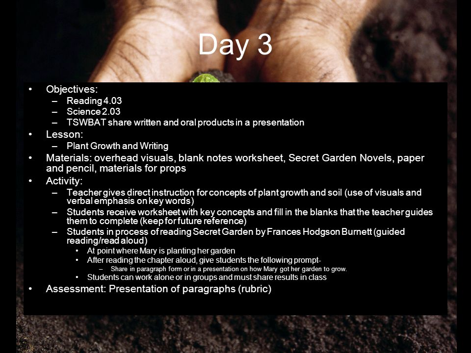 Day 3 Objectives: –Reading 4.03 –Science 2.03 –TSWBAT share written and oral products in a presentation Lesson: –Plant Growth and Writing Materials: o