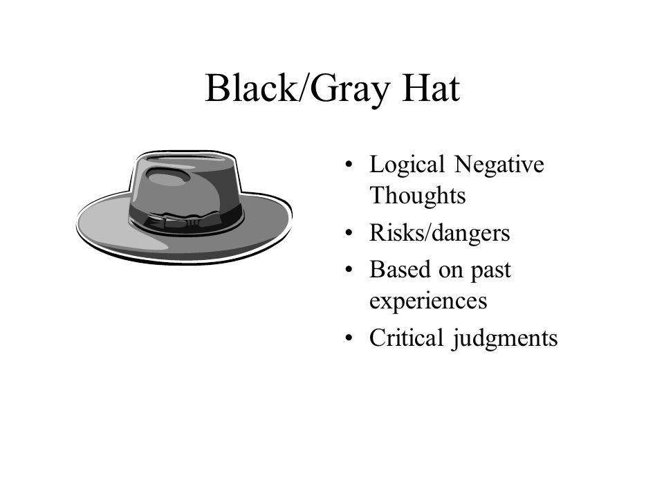 Black/Gray Hat Logical Negative Thoughts Risks/dangers Based on past experiences Critical judgments
