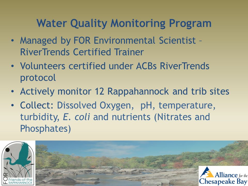 Managed by FOR Environmental Scientist – RiverTrends Certified Trainer Volunteers certified under ACBs RiverTrends protocol Actively monitor 12 Rappah