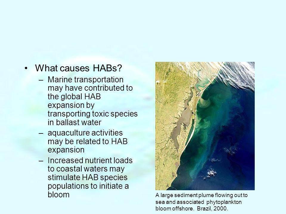 What causes HABs? –Marine transportation may have contributed to the global HAB expansion by transporting toxic species in ballast water –aquaculture