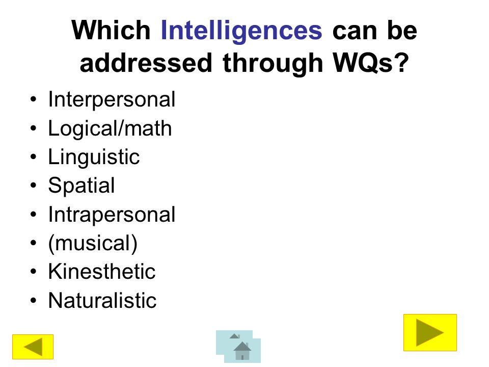 Which Intelligences can be addressed through WQs.