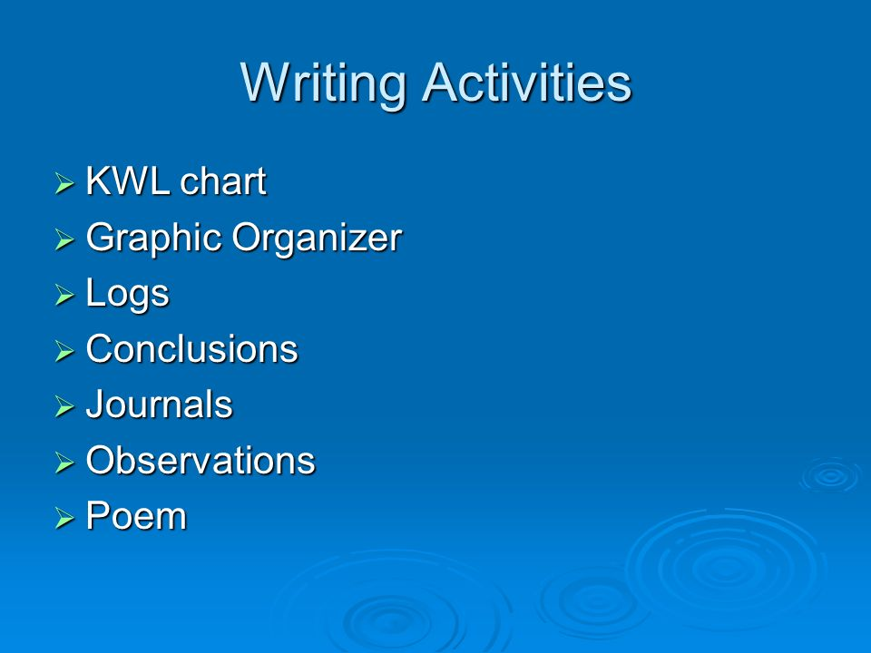 Writing Activities KWL chart KWL chart Graphic Organizer Graphic Organizer Logs Logs Conclusions Conclusions Journals Journals Observations Observations Poem Poem