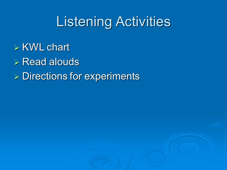 Listening Activities KWL chart KWL chart Read alouds Read alouds Directions for experiments Directions for experiments