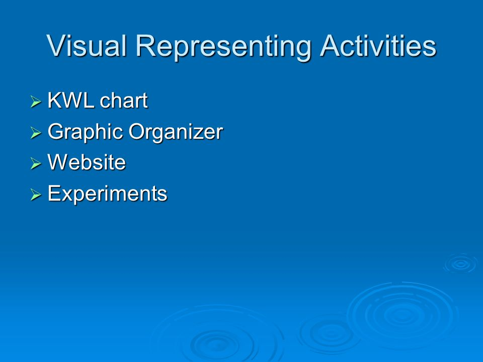 Visual Representing Activities KWL chart KWL chart Graphic Organizer Graphic Organizer Website Website Experiments Experiments