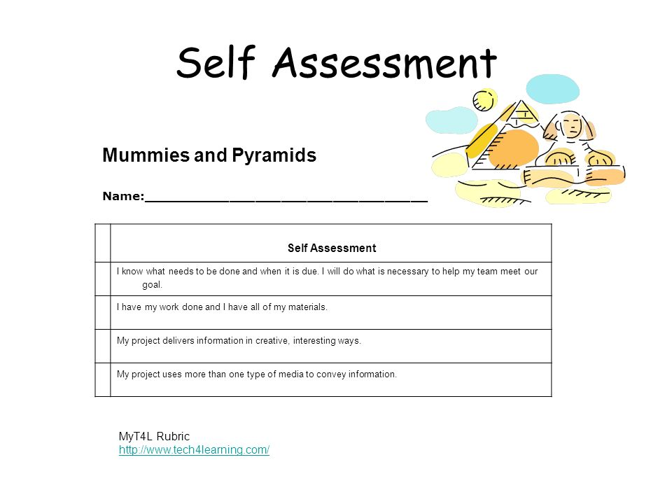Self Assessment Mummies and Pyramids Name:_________________________________ Self Assessment I know what needs to be done and when it is due. I will do