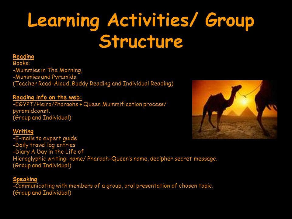 Learning Activities/ Group Structure Reading Books: -Mummies in The Morning, -Mummies and Pyramids. (Teacher Read-Aloud, Buddy Reading and Individual