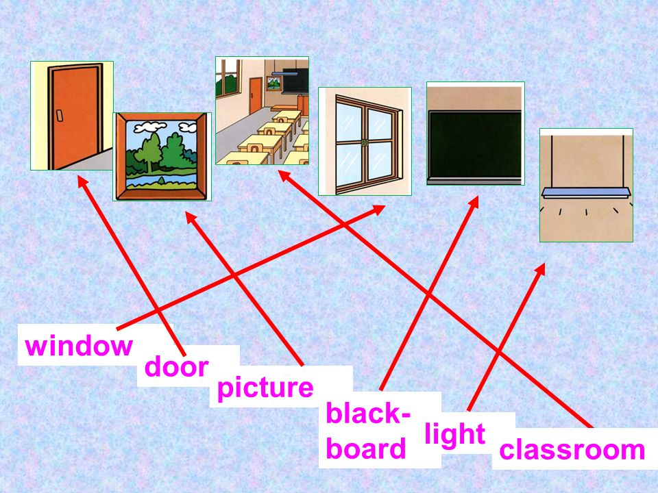 window door picture black- board light classroom