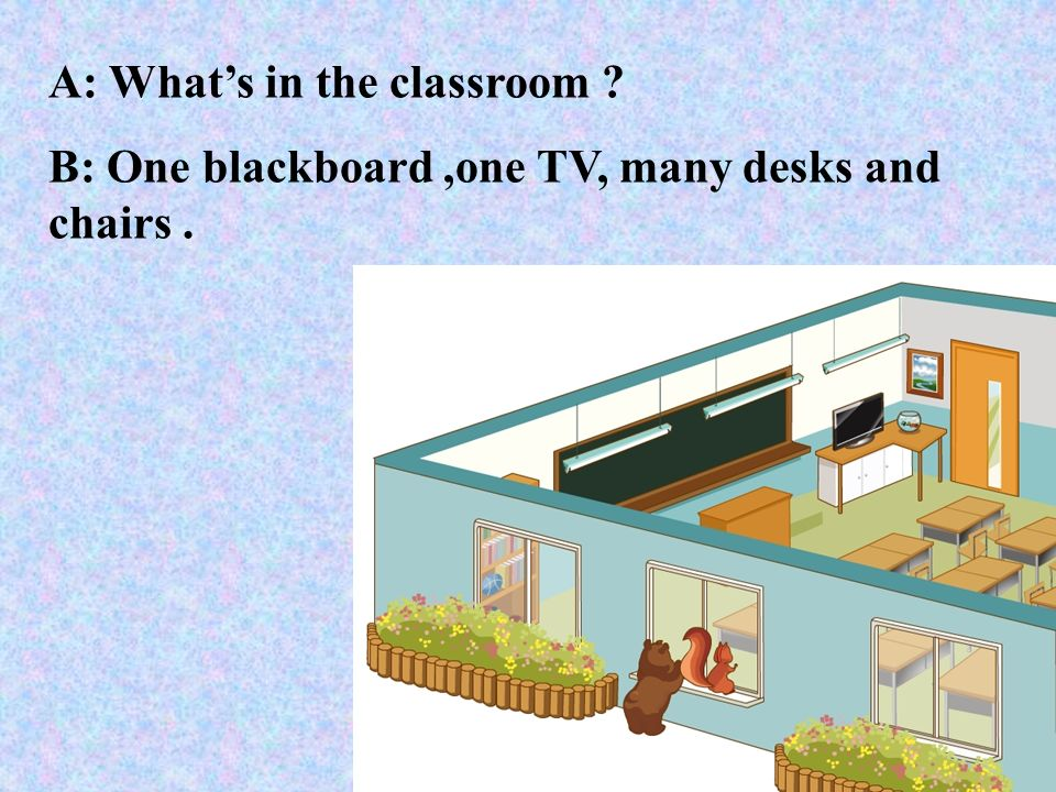 A: Whats in the classroom ? B: One blackboard,one TV, many desks and chairs.